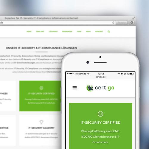 Corporate Design, Printdesign und responsive Webdesign für die certigo GmbH