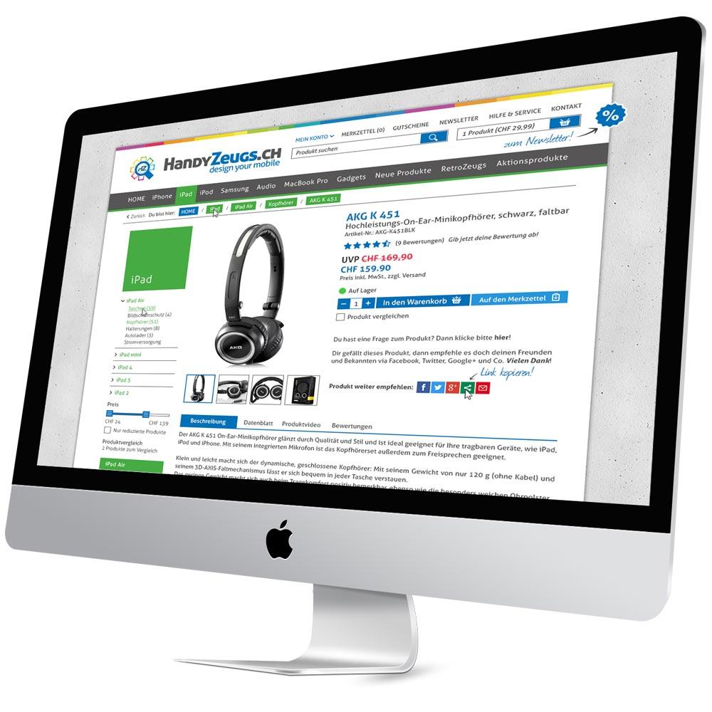 HandyZeugs Webdesign Webshop Gestaltung