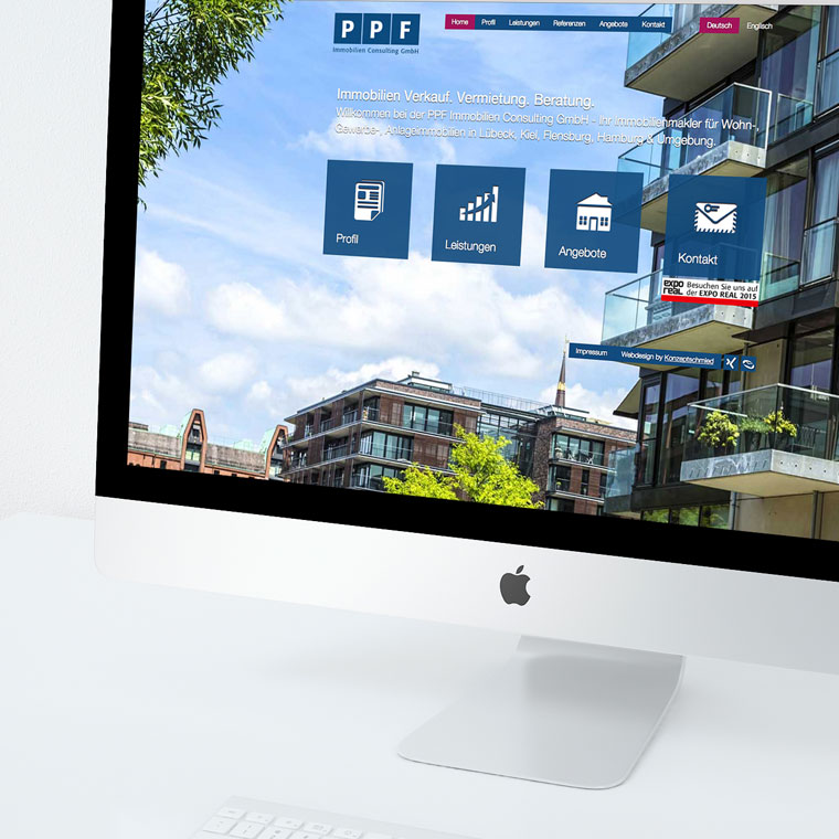 Webdesign, Contao CMS und onPage SEO Optimierung für die PPF Immobilien Consulting GmbH
