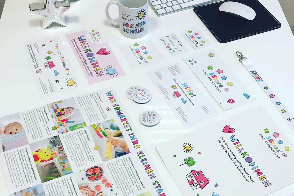 Printdesign und Werbeartikel für 5Stars Kindertagespflege