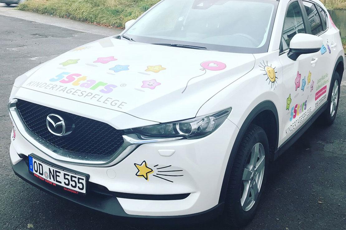 Markenentwicklung und Autowerbung für 5Stars Kindertagespflege
