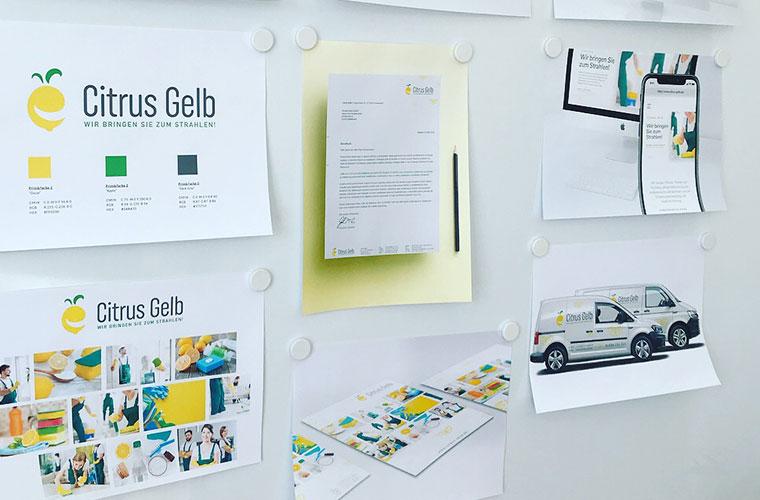 Logoentwicklung, Slogan und Corporate Design für Citrus Gelb